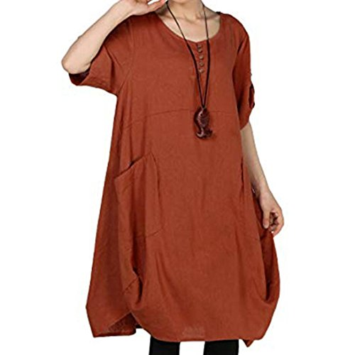 Flurries Women Dress, Large Size Women Button Solid Color Cotton and Linen Casual Dress (L, Brown) by Flurries