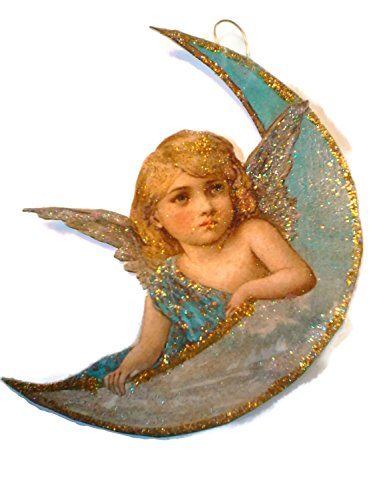 Angel Ornament Decoration Blue Moon Glitter Wings ()