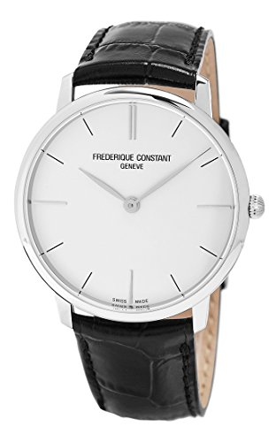 Frederique Constant Slimline Stainless Steel Mens Strap Watch Silver Dial FC-200S5S36