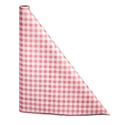 225 & DISPOSABLE PAPER TABLE COVER 100\u0027 ROLL PRINTED WITH RED GINGHAM