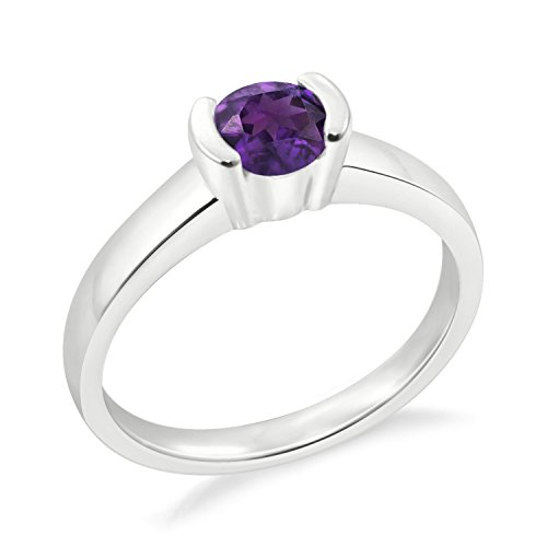 Diamond Scotch 14k White Gold Plated Solitaire Ring Simulated Amethyst Half Bezel Set Solitaire Engagement Ring Gift for Her