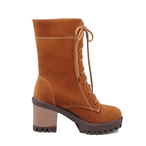 AllhqFashion Womens Imitated Suede Low-Top Solid Lace-Up High-Heels Boots Brown iEp4PGF8XP