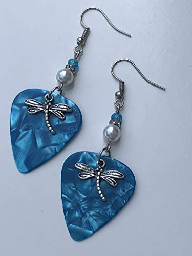 Dragonfly Guitar Pick Earrings - Ocean ()