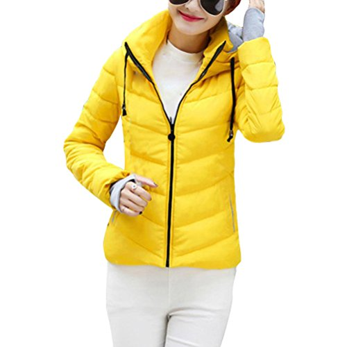 Zhhlaixing Abrigo de moda Colorful Womens Short Style Hooded Design Cotton Suits Slim Fit Winter Yellow