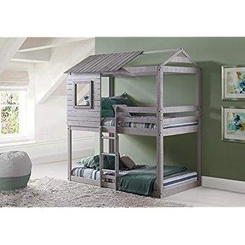 Amazon Com Acme Tree House Loft Bed Rustic Oak Finish