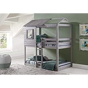 Donco Kids Deer Blind Bunk Loft Bed, Twin/Twin, Light Grey 14