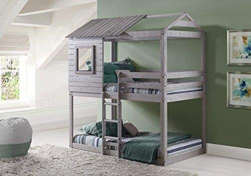 Donco Kids 1370-TTLG Deer Blind Bunk Loft Bed, Twin/Twin, Light Grey