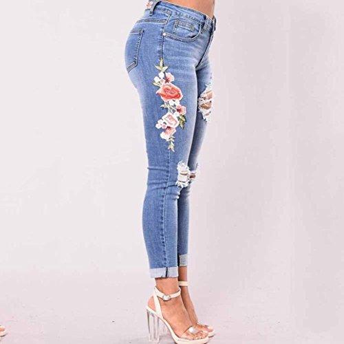 Jeans Petit Lastique WINWINTOM Stretch Femmes Svelte Maigre Pantalon Brod Pieds Aux Bleu Pieds 2018 Coin BrodS Jeans Trou Sw8xUZ1w
