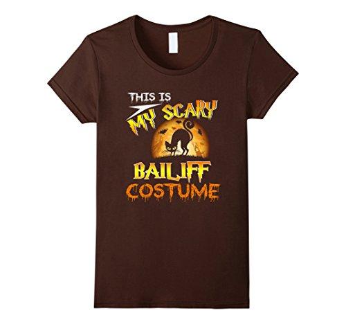 Womens My Scary Bailiff Costume Shirt Cat Moon Halloween XL Brown - Bailiff Costume