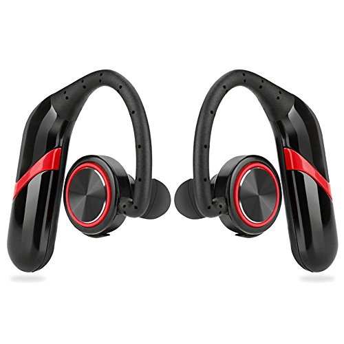 ELEOPTION Wireless Headphones Over Ear for Working Out Noise Cancelling With Mic Bluetooth Car Headset Earbud HD Stereo Waterproof Sweatproof For Gym Running iPhone 7 8 Plus Samsung Android (Red)