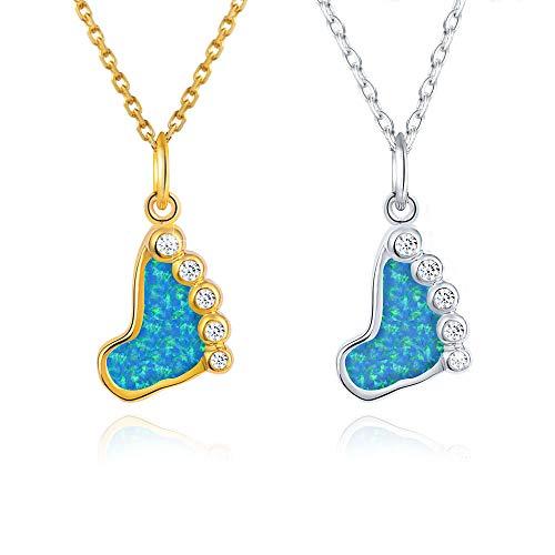 Jeka Blue Opal Pendant Necklace for Women Teen Girls Dainty Crytstal 18K White Gold Jewelry Owl/Turtle/Cross/Unicorn Lucky Cute (Footprint)