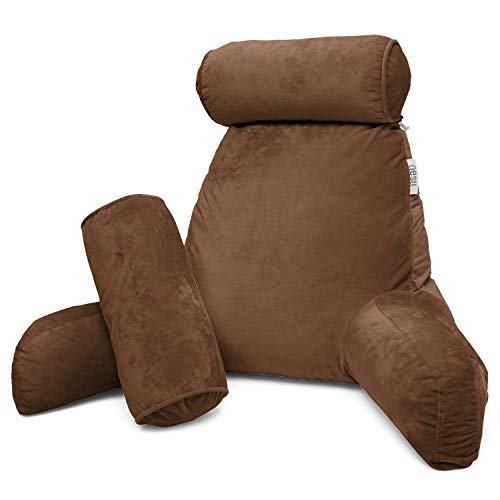 Tan Velvet Cord - Nestl Reading Pillow, Includes 1 Extra Large Bed Rest Pillow with Arms + 2 Detachable Pillows - Premium Shredded Memory Foam TV Pillow, Neck Roll & Lumbar Support Pillow - Set of 3 - Brown Chocolate