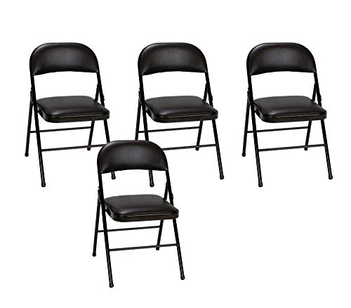 Cosco Vinyl Folding Chair Black (4-pack) (Dinner Set 72 Pieces)