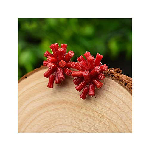 Handmade Natural Red Sea Bamboo Coral 925 Sterling Silver Stud Earrings For Women,1