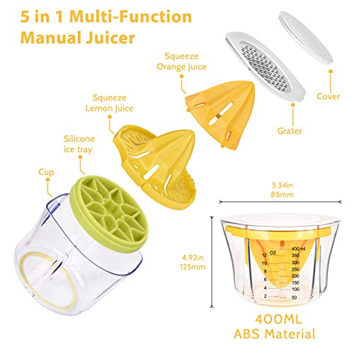 Citrus Lemon Orange Manual Juicer, Multifunctional Hand Squeezer with Built-in Measuring Cup, Grater and Strainer, and Containing Silicone Ice Cube Trays, for Oranges, Lemons, Limes & More (14 OZ)