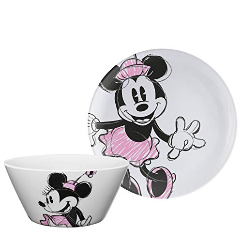 Zak Designs Disney Minnie Mouse - Kids Dinnerware Set, Including 10in Melamine Plate and 27oz Bowl Set, Durable and Break Resistant Plate and Bowl Makes Mealtime Fun (Melamine, BPA-Free)