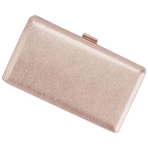 Metallic Shimmering Box Clutch Style HBELLIE, Rose Gold ()