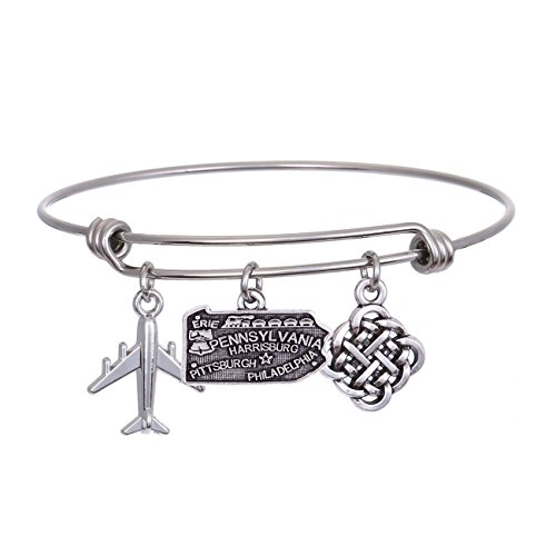JJTZX State Bangle U.S. Map Charm Expandable Travel Bracelet Long Distance Relationship Gift Best Friends Bracelet (Pennsylvania)
