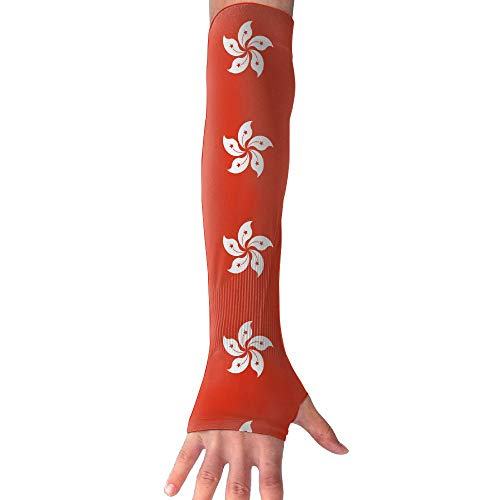 CHAN03 Anti-uv Sun Protection Hong Kong Flag Gloves Long Fingerless Arm Cooling Sleeve Men Women