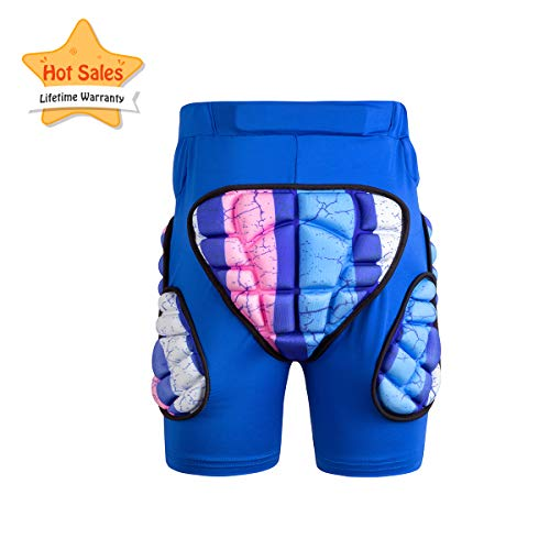 GOHINSTAR Kids Padded Shorts 3D Protection Hip Butt EVA Protective Compression Shorts Pants for Snowboard Skate Ski Biking Blue