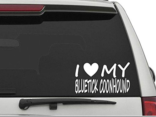 Decals USA I Love (heart) my Bluetick Coonhound Decal Sticker for Car and Truck Windows and Laptops
