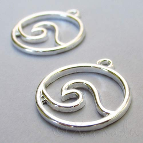 - Pendant Jewelry Making Wave Charms 25mm Wholesale Silver Plated Surfing 2pcs