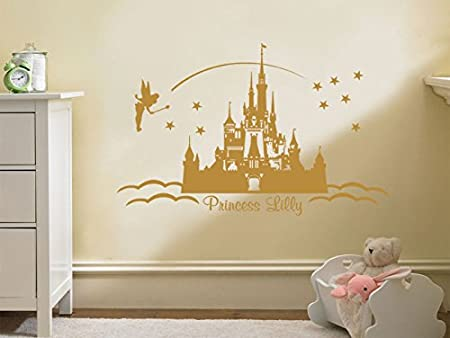 PERSONALISED Princess Castle Wall Art, Vinyl Sticker Wall Childs ...
