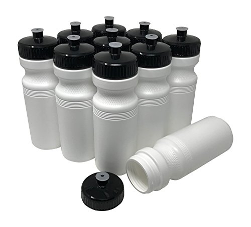 CSBD Blank 24 oz Sports and Fitness Squeeze Water Bottles, BPA Free, HDPE Plastic, Made in USA, Bulk, 10 Pack (White Bottle - Black Lid, 24 Ounces) ()