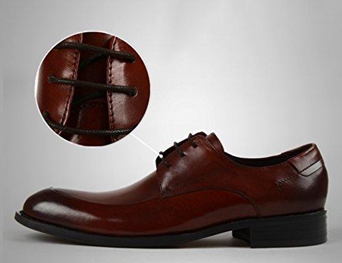 Zapatos Clásicos de Piel para Hombre Zapatos de hombre de estilo formal de negocios de estilo británico Zapatos de cuero de punta estrecha transpirables ( Color : Red-brown , Tamaño : EU39/UK6 ) Red-brown