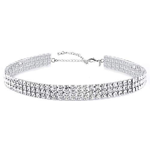 Zealmer White Gold Plated 1-8 Rows Rhinestone Choker Necklace for Women