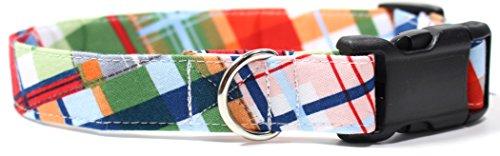 Gone Coastal Plaid, Summer Shirt Pattern Designer Dog Collar, Adjustable Handmade Fabric Collars (M - 1