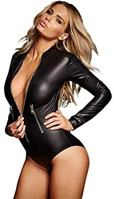 YeeATZ Black Leathery Long Sleeve Zip Detail Bodysuit