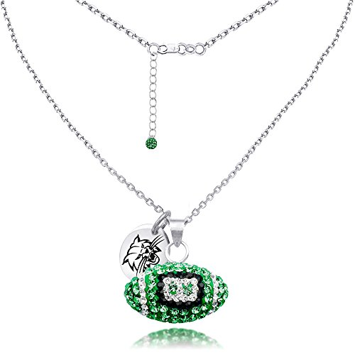 Ohio Bobcats Sterling Silver and Czech Crystal Football Necklace