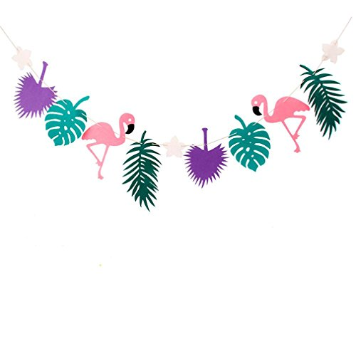 Flamingo Party Decoration Happy Birthday Banner Flag Garland Hawaiian Luau Tropical Coconut Leaves Event Party Supplies Purple and Green]()