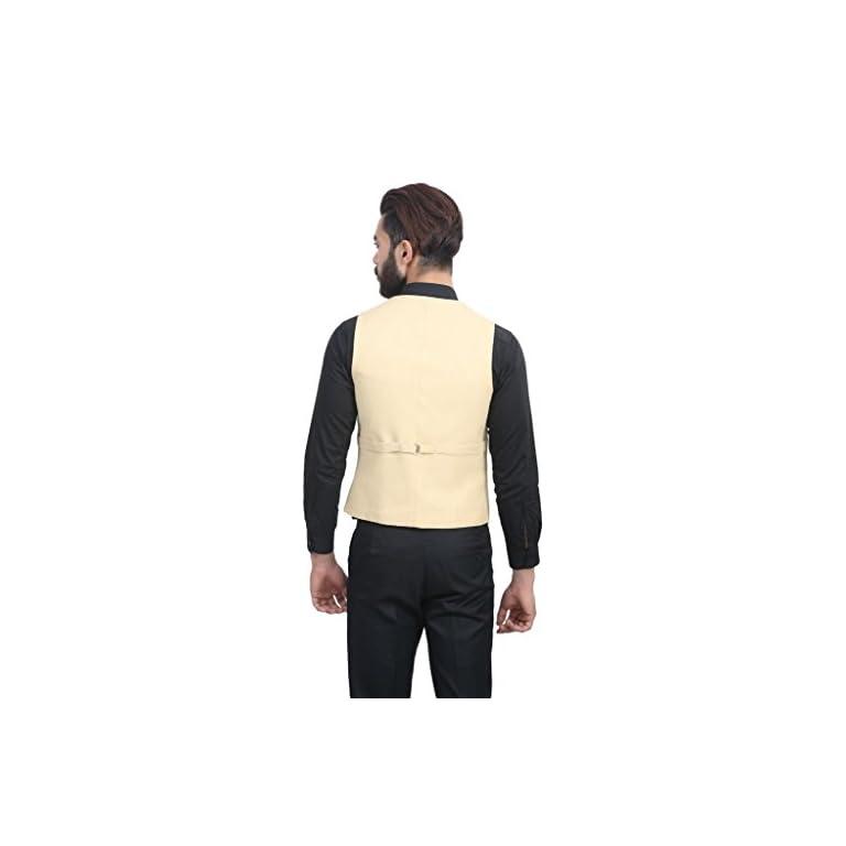 41oyJ7cEzbL. SS768  - MANQ Men's V.Neck Five Button Slim Fit Party/Casual Waist Coat - 5 Colors