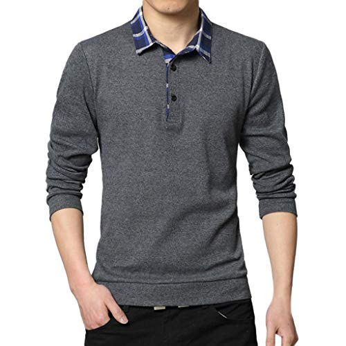 Polo Shirts for Men Long Sleeve Casual Fit Plaid Collar T-Shirts (Dark Gray, L)