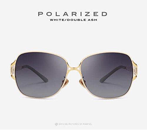 Gafas libre Polaroid moda Ruiyue de de UV400 adultos sol Vintage de White para gafas gafas de sol mujeres conducción grandes aire para espejo Sol al de casual dqpqz0