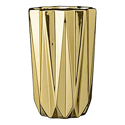 "Bloomingville 5"" Round x 7.75"" H Ceramic Vase, Gold - Colors: gold Materials: ceramic Measurements: 5L x 7.75H x 5W - vases, kitchen-dining-room-decor, kitchen-dining-room - 41oyJsZHO8L. SS400  -"