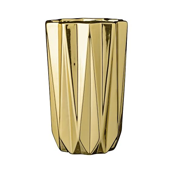 """Bloomingville 5"""" Round x 7.75"""" H Ceramic Vase, Gold - Colors: gold Materials: ceramic Measurements: 5L x 7.75H x 5W - vases, kitchen-dining-room-decor, kitchen-dining-room - 41oyJsZHO8L. SS570  -"""