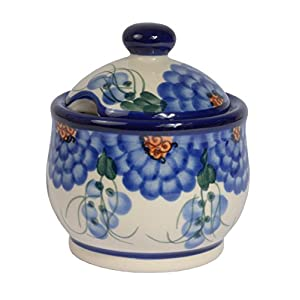 Traditional Polish Pottery, Handcrafted Ceramic Lidded Sugar Bowl with a Spoon Slot (290ml / 10 fl oz), Boleslawiec Style Pattern, C.102