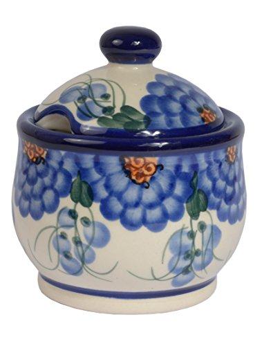 Traditional Polish Pottery, Handcrafted Ceramic Lidded Sugar Bowl with a Spoon Slot (290ml / 10 fl oz), Boleslawiec Style Pattern, C.102