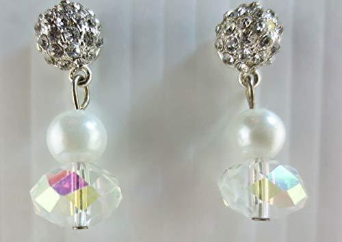 Premier Quality Dangling Crystal Rhinestone/AB Glass Bead Faux Pearl ()