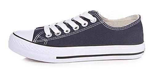 Sfnld Femmes Mode Coupe Basse Lace Up Sneakers Toile Chaussures Bleu Foncé