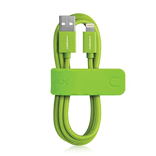 MOMAX MFi Certified Lightning Cable, 1m 2.4A Fast Charging Woven Braid Lightning to USB Cable for iPhone, iPad, iPod (Green) by MOMAX
