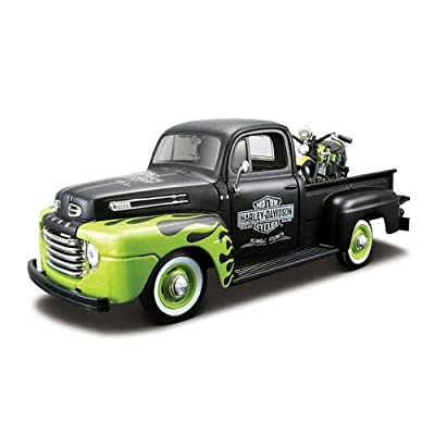 Maisto 1948 Ford F-1 Pickup Truck Harley Davidson With 1948 FL Panhead Motorcycle Black/Green 1/24: Toys & Games