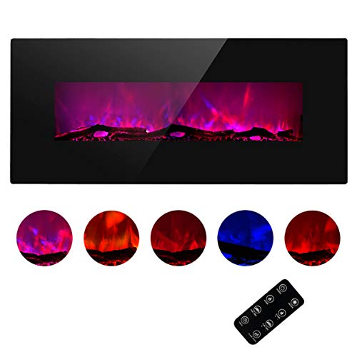 TAGI 50'' Glass Electric Fireplace Heater with 5 Changeable Flame Color, Wall Mounted or Free Standing