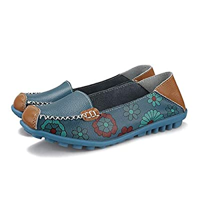 Ablanczoom Womens Comfortable Leather Floral Print Flats Casual Slip on Driving Loafers Breathable Walking Shoes for Women