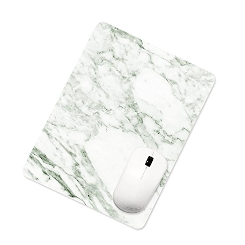 - ProElife Ultra Thin Mouse Pad Mat PU Leather Office Home Gaming Cute Square Mousepad for Magic Mouse Surface Mouse and Wireless Wired Bluetooth Mouse (White Marble), Rectangle 10 x 8 Inch Non-Slip