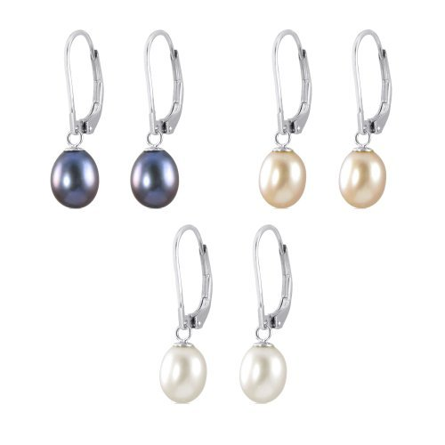 Kezef Genuine Freshwater Cultured Pearl 7-8mm Drops on Rhodium Plated Sterling Silver Leverback Earrings