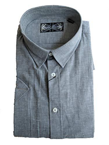English Laundry Men's Linen Blend Short Sleeve Shirt (L, Grey) ()